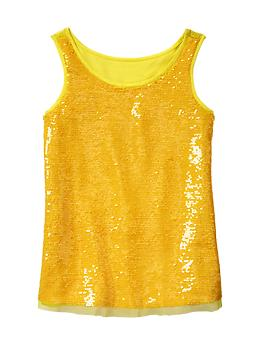 Neon sequin tank - neon lemon